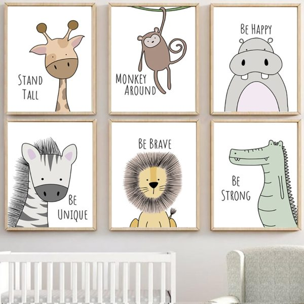 Nordic Style Painting Cartoon Animal Prints Canvas Home Decoration Wall Art Modular Pictures Watercolor Poster For Nordic Style Painting Cartoon Animal Prints Canvas Home Decoration Wall Art Modular Pictures Watercolor Poster For Kids Room