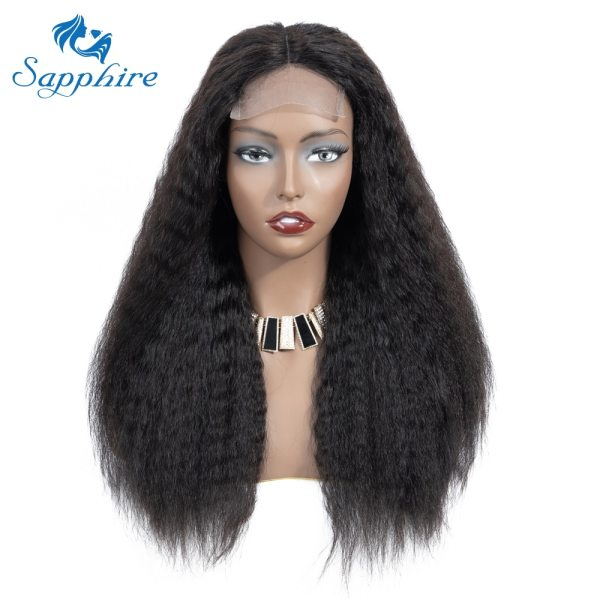 Sapphire 4 4 Deep Part Lace Wigs Brazilian Human Hair Wigs Pre Plucked Yaki Straight Kinky 2 Sapphire 4*4 Deep Part Lace Wigs Brazilian Human Hair Wigs Pre Plucked Yaki Straight Kinky Straight Lace Closure Wigs For Women
