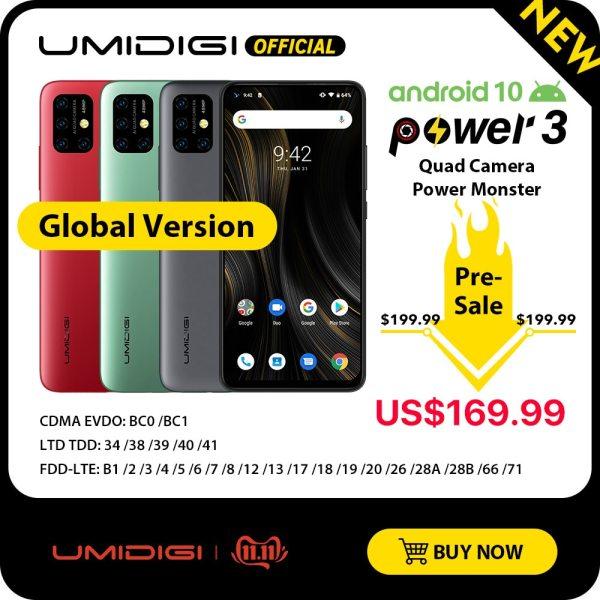 """UMIDIGI Power 3 Android 10 48MP Quad AI Camera 6150mAh 6 53 FHD 4GB 64GB Helio UMIDIGI Power 3 Android 10 48MP Quad AI Camera 6150mAh 6.53"""" FHD+ 4GB 64GB Helio P60 Global Version Smartphone NFC Pre-sale"""