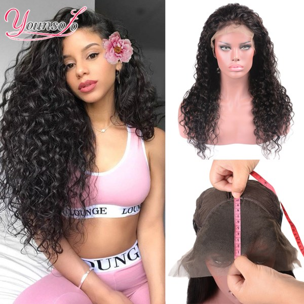 Younsolo 13x4 Lace Front Human Hair Wigs For Black Women Remy Brazilian Water Wave Lace Front Younsolo 13x4 Lace Front Human Hair Wigs For Black Women Remy Brazilian Water Wave Lace Front Wig Pre Plucked With Baby Hair
