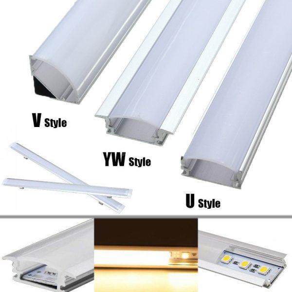 30 50cm LED Bar Lights Aluminum Channel Holder Milk Cover End Up Lighting Accessories U V 30/50cm LED Bar Lights Aluminum Channel Holder Milk Cover End Up Lighting Accessories U/V/YW-Style Shaped For LED Strip Light
