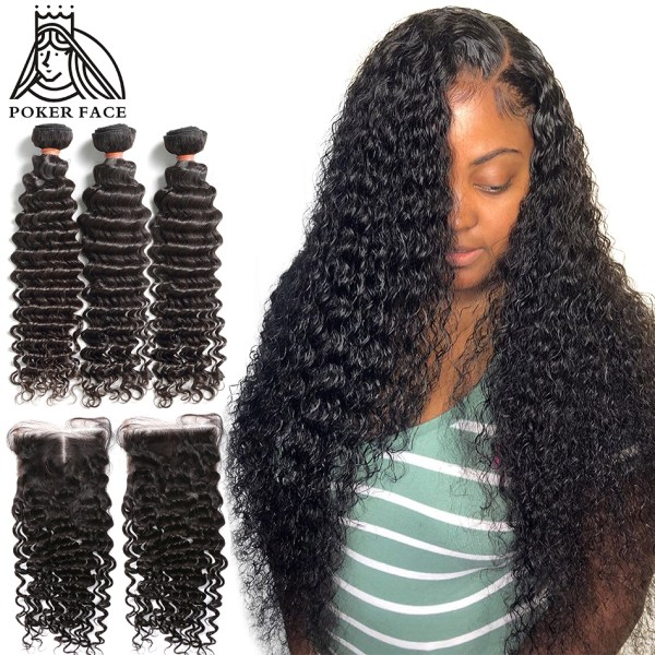 8 28 30 Inch Deep Wave Bundles With Closure Brazilian Remy Curly 100 Human Hair Water 8-28 30 Inch Deep Wave Bundles With Closure Brazilian Remy Curly 100% Human Hair Water Wave 3 4 Bundles Weave And Lace Closure