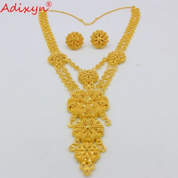 Adixyn Big Size lUXURY India Pliability Necklace Earrings Jewelry Sets For Women Gold Color Ethiopian Engagement 2 Adixyn Big Size lUXURY India Pliability Necklace/Earrings Jewelry Sets For Women Gold Color Ethiopian Engagement Gifts N09166