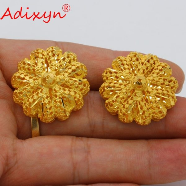 Adixyn Big Size lUXURY India Pliability Necklace Earrings Jewelry Sets For Women Gold Color Ethiopian Engagement 3 Adixyn Big Size lUXURY India Pliability Necklace/Earrings Jewelry Sets For Women Gold Color Ethiopian Engagement Gifts N09166