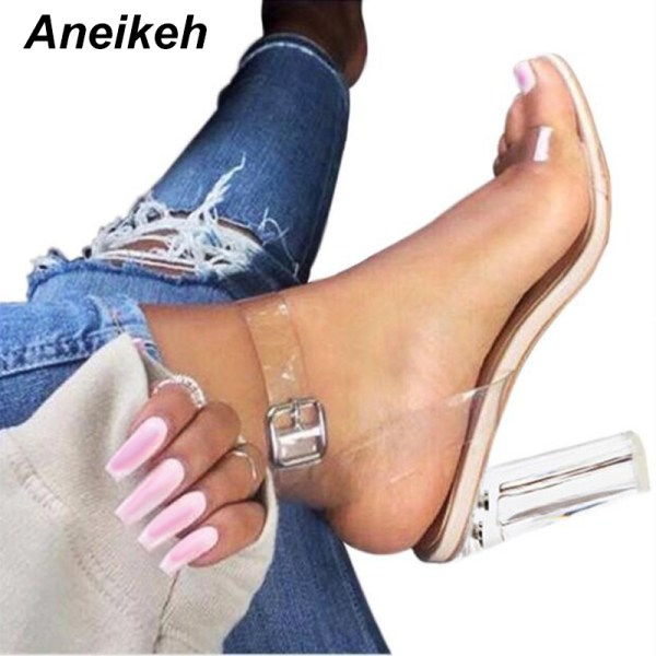 Aneikeh 2020 PVC Jelly Sandals Crystal Open Toed High Heels Women Transparent Heel Sandals Slippers Pumps Aneikeh 2020 PVC Jelly Sandals Crystal Open Toed High Heels Women Transparent Heel Sandals Slippers Pumps 11CM Big Size 41 42