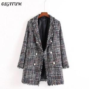 Fresh style Spring Autumn female casual jacket coat hand tassel loose coat checkered Tweed coat jacket Innrech Market.com