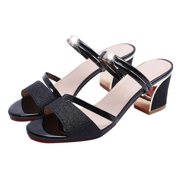 High Heel Sandals Women Shoes Peep toe Square Heels Ladies Sandals 2019 Summer Shoes Woman Fashion 1 High Heel Sandals Women Shoes Peep toe Square Heels Ladies Sandals 2019 Summer Shoes Woman Fashion Heel 6cm A645
