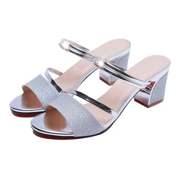 High Heel Sandals Women Shoes Peep toe Square Heels Ladies Sandals 2019 Summer Shoes Woman Fashion 2 High Heel Sandals Women Shoes Peep toe Square Heels Ladies Sandals 2019 Summer Shoes Woman Fashion Heel 6cm A645