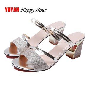 High Heel Sandals Women Shoes Peep toe Square Heels Ladies Sandals 2019 Summer Shoes Woman Fashion Innrech Market.com