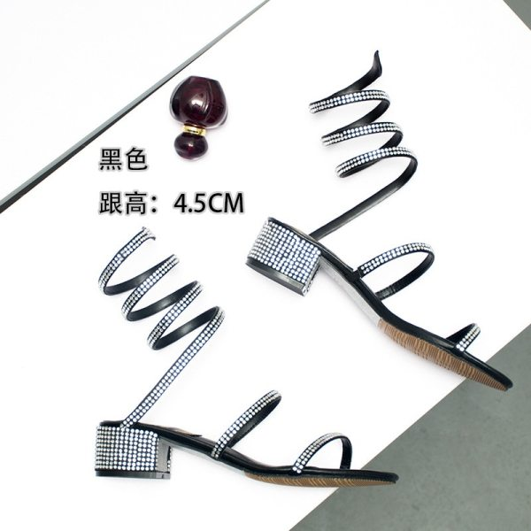Summer Women Sandals 2019 Fashion Sexy Rhinestone Mid Heel Tied Party Breathable Comfort Shopping Woman Walking 4 Summer Women Sandals 2019 Fashion Sexy Rhinestone Mid Heel Tied Party Breathable Comfort Shopping Woman Walking Casual Shoes