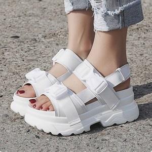 Summer Women Sandals Buckle Design Black White Platform Sandals Comfortable Women Thick Sole Beach Shoes 393w 1 Innrech Market.com