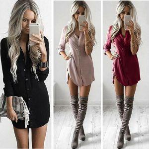 Women Fashion Blouse Shirt Dress Summer Casual Loose Long Sleeve Blouse Tops Casual Blouse Dress Innrech Market.com