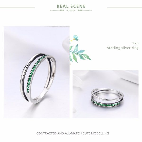 BAMOER Genuine 925 Sterling Silver Double Circle Black Clear CZ Stackable Finger Ring for Women Fine 3 BAMOER Genuine 925 Sterling Silver Double Circle Black Clear CZ Stackable Finger Ring for Women Fine Silver Jewelry Gift SCR082