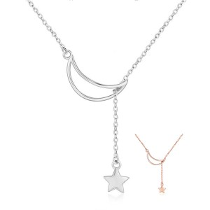 BAMOER New Arrival Fashion 925 Sterling Silver Moon and Star Tales Chain Link Pendant Necklaces for Innrech Market.com