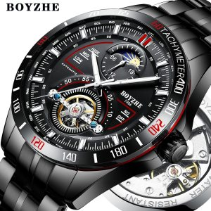 BOYZHE Men Automatic Mechanical Fashion Top Brand Sport Watches Tourbillon Moon Phase Stainless Steel Watch relogio Innrech Market.com