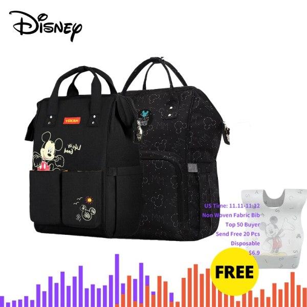 Disney Diaper Bag Backpack For Moms Baby Bag Maternity For Baby Care Nappy Bag Travel Stroller 1 Disney Diaper Bag Backpack For Moms Baby Bag Maternity For Baby Care Nappy Bag Travel Stroller USB Heating Send Free 1Piar Hooks