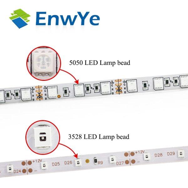 EnwYe 5M 300Leds waterproof RGB Led Strip Light 3528 5050 DC12V 60Leds M Fiexble Light Led 2 EnwYe 5M 300Leds waterproof RGB Led Strip Light 3528 5050 DC12V 60Leds/M Fiexble Light Led Ribbon Tape Home Decoration Lamp