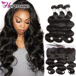 Hermosa Human Hair 3 Bundles With Frontal Closure Brazilian Body Wave 13x4 Lace Frontal With Bundles Innrech Market.com