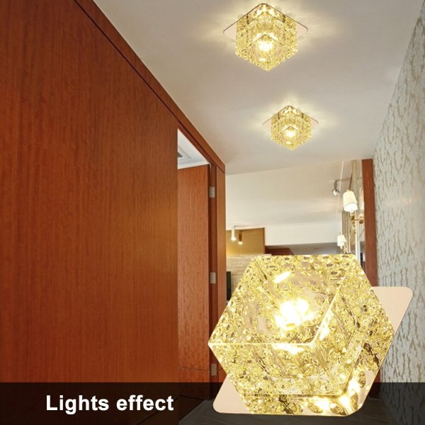 LED Ceiling Light Surface Mounted Crystal Aisle Lamp Lustre Modern Ceiling Lamp For Living Room Indoor 5 LED Ceiling Lights | Light Surface | Surface Mounted Crystal Aisle Lamp Lustre Modern Ceiling Lamp For Living Room Indoor Bedroom Corridor Entrance Power 3W