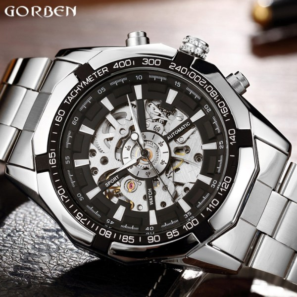 Luxury Silver Automatic Mechanical Watches for Men Skeleton Stainless Steel Self wind Wrist Watch Men Clock Luxury Silver Automatic Mechanical Watches for Men Skeleton Stainless Steel Self-wind Wrist Watch Men Clock relogio masculino