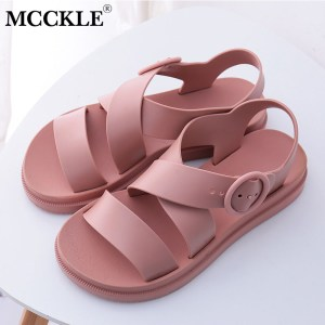 MCCKLE Flat Sandals Women Shoes Gladiator Open Toe Buckle Soft Jelly Sandals Female Casual Women s Innrech Market.com