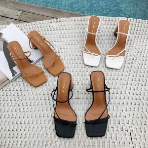 MONMOIRA Wood Heel Slipper Women s Sandals Vintage Square Toe Narrow Band High Heel Sandals Women Innrech Market.com