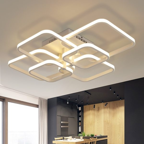 NEO Gleam Rectangle Acrylic Aluminum Modern Led ceiling lights for living room bedroom AC85 265V White 5 NEO Gleam Rectangle Acrylic Aluminum Modern Led ceiling lights for living room bedroom AC85-265V White Ceiling Lamp Fixtures