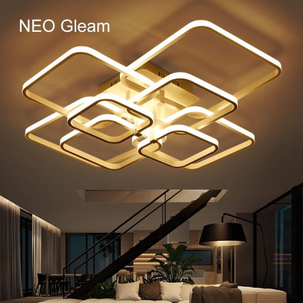 NEO Gleam Rectangle Acrylic Aluminum Modern Led ceiling lights for living room bedroom AC85 265V White NEO Gleam Rectangle Acrylic Aluminum Modern Led ceiling lights for living room bedroom AC85-265V White Ceiling Lamp Fixtures