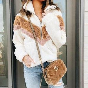 New Style Women Warm Teddy Bear Fleece Pullover Coat Zip Outwear Overcoat Long Sleeve Jumper Top Innrech Market.com