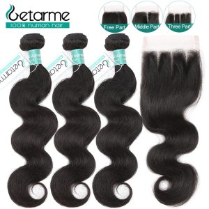 Peruvian Body Wave Bundles With Closure Natural Color 3 Bundles With Closure Remy Human Hair Innrech Market.com