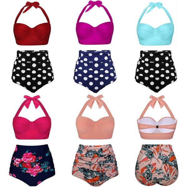Push Up Women Swimsuit High Waist Bikinis Plus Size Swimwear Vintage Bikini Set Bathing Suits Retro 4 Push Up Women Swimsuit High Waist Bikinis Plus Size Swimwear Vintage Bikini Set Bathing Suits Retro Floral Beach Wear Biquini