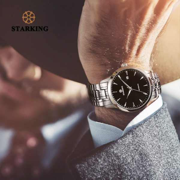 STARKING Mens Clock Automatic Mechanical Watch All Stainless Steel Simple Business Male Watch xfcs Luxury Brand 2 STARKING Mens Clock Automatic Mechanical Watch All Stainless Steel Simple Business Male Watch xfcs Luxury Brand Dress WristWatch