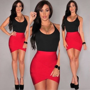 Sexy Patchwork Red Black Bandage Dress Women Strappy Sleeveless Spaghetti Strap Stretch Evening Party Mini Dresses Innrech Market.com