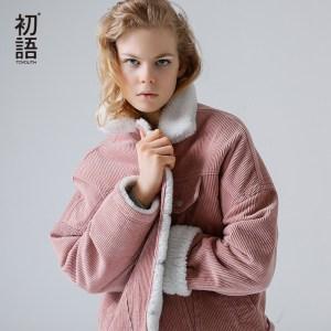 Toyouth Autumn Winter Corduroy Basic Jacket Lambswool Bomber Jacket Women Long Sleeve Jacket Casual Single Breasted Innrech Market.com