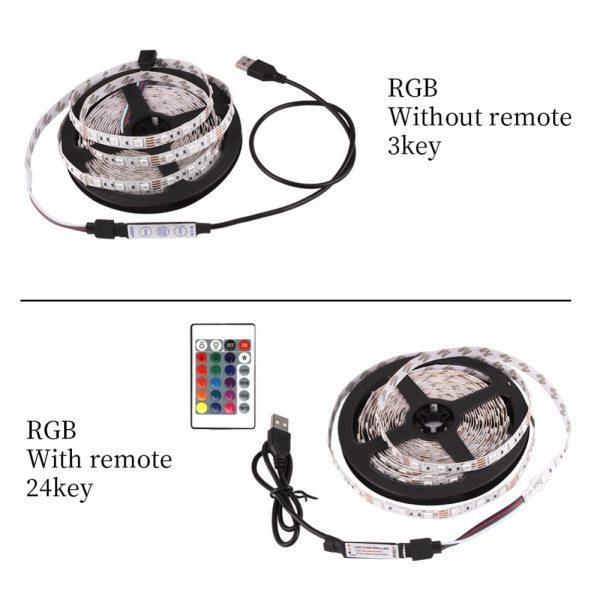 USB LED Strip DC 5V Flexible Light Lamp 60LEDs SMD 2835 50CM 1M 2M 3M 4M 1 USB LED Strip DC 5V Flexible Light Lamp 60LEDs SMD 2835 50CM 1M 2M 3M 4M 5M Mini 3Key Desktop Decor Tape TV Background Lighting