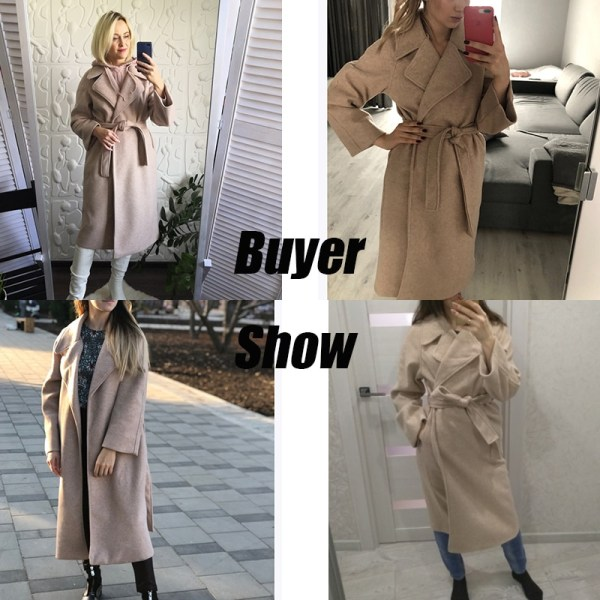 Winter Fashion Coats Women Wool blend Coat Lazy Oaf Long Chunky Warm Coat Western Style Fitted 4 Winter Fashion Coats Women Wool-blend Coat Lazy Oaf Long Chunky Warm Coat Western Style Fitted Waist Lace-up Loose Coat