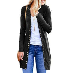 Womens Open Front Button Down Cardigan Sweater Long Sleeve Plus Loose Drape Innrech Market.com
