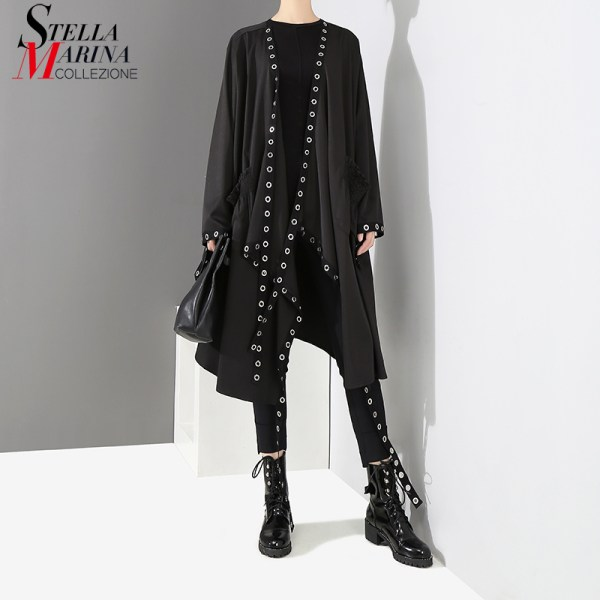 2019 Korean Style Women Very Long Solid Black Jacket Open Design Long Tape Stitched Metal Holes 2019 Korean Style Women Very Long Solid Black Jacket Open Design Long Tape Stitched Metal Holes Female Stylish Loose Jacket 3843