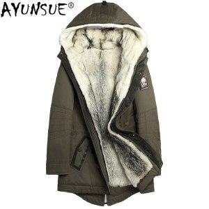 AYUNSUE Parka Real Fur Coat Men Winter Jacket 2019 Natural Wolf Fur Liner Warm Clothes Long Innrech Market.com