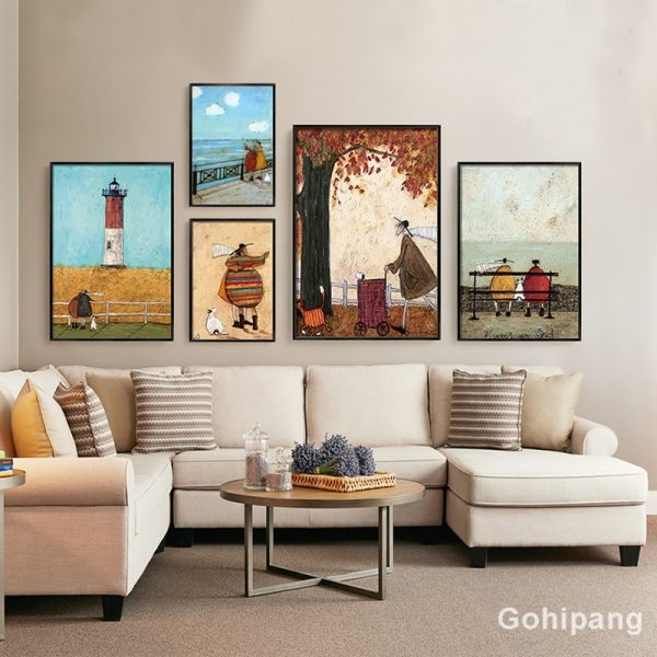 Gohipang Happy Family Abstract Love Canvas Painting Vintage Posters Prints Scandinavian Nordic Wall Art Picture For 3 Gohipang Happy Family Abstract Love Canvas Painting Vintage Posters Prints Scandinavian Nordic Wall Art Picture For Bedroom Home