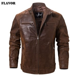 Men s Pigskin Real Leather Jacket Motorcycle Jacket Coat Men Innrech Market.com