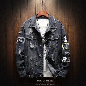 Mens Jackets And Coats Black Holes Denim Coats New Fashion Men Spring Autumn Loose Casual Jean Innrech Market.com