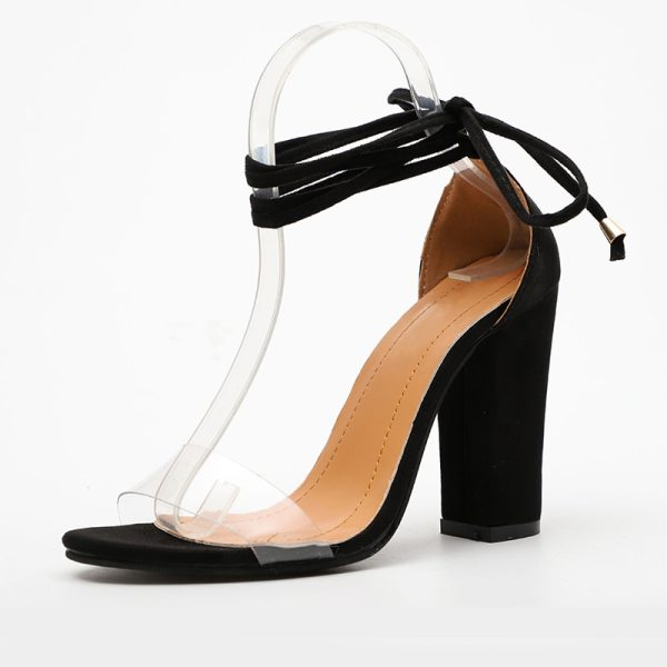 Summer Women High Heels Shoes T stage Transparent Sandals Sexy Square Heel Pump Female Cover Heel 3 Summer Women High Heels Shoes T-stage Transparent Sandals Sexy Square Heel Pump Female Cover Heel Party Wedding Ladies Plus Size