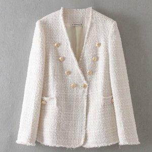Women elegant white coat double breasted V neck buttons jacket office wear female casual outwear top Innrech Market.com