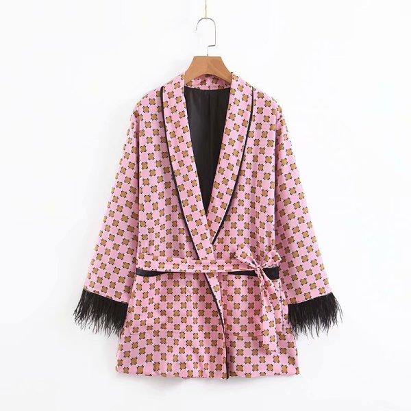 Women jacket for women fashion suit jacket with fringed print 1 Women jacket for women fashion suit jacket with fringed print