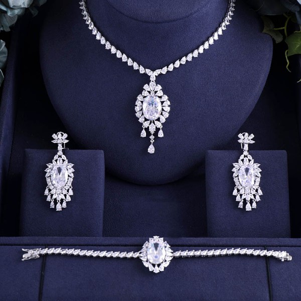 jankelly Hotsale African 3 pcs Bridal Jewelry Sets New Fashion Dubai Full Jewelry Set For Women jankelly Hotsale African 3 pcs Bridal Jewelry Sets New Fashion Dubai Full Jewelry Set For Women Wedding Party Accessories Design