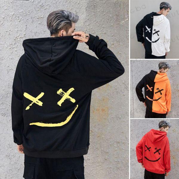 2019 New Men Hoodies Sweatshirts Smile Print Headwear Hoodie Hip Hop Streetwear Clothing Us size Plus 2019 New Men Hoodies Sweatshirts Smile Print Headwear Hoodie Hip Hop Streetwear Clothing Us size Plus Size 3XL