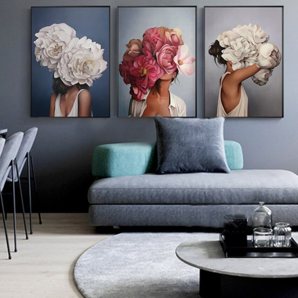 Flower Feathers Woman Abstract Canvas Painting Wall Art Print Poster Picture Decorative Painting Living Room Home Flower Feathers Woman Abstract Canvas Painting Wall Art Print Poster Picture Decorative Painting Living Room Home Decoration