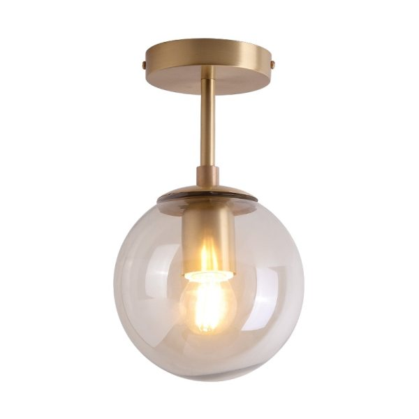 IWHD Nordic Glass Ball LED Ceiling Lights Balcony Porch Aisle Bedroom Copper Retro Vintage Ceiling Lamps Vintage Ceiling Lights | Antique Brass Ceiling Lights | Nordic Glass Ball LED Ceiling Lights Balcony Porch Aisle Bedroom Copper Retro Vintage Ceiling Lamps Plafonnier Lighting 001