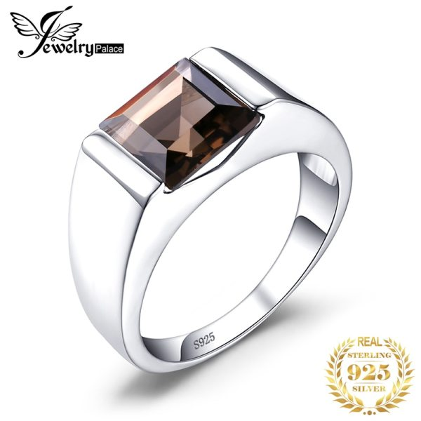 JewPalace Genuine Smoky Quartz Ring 925 Sterling Silver Rings for men Wedding Rings Silver 925 Gemstones JewPalace Genuine Smoky Quartz Ring 925 Sterling Silver Rings for men Wedding Rings Silver 925 Gemstones Jewelry Fine Jewelry